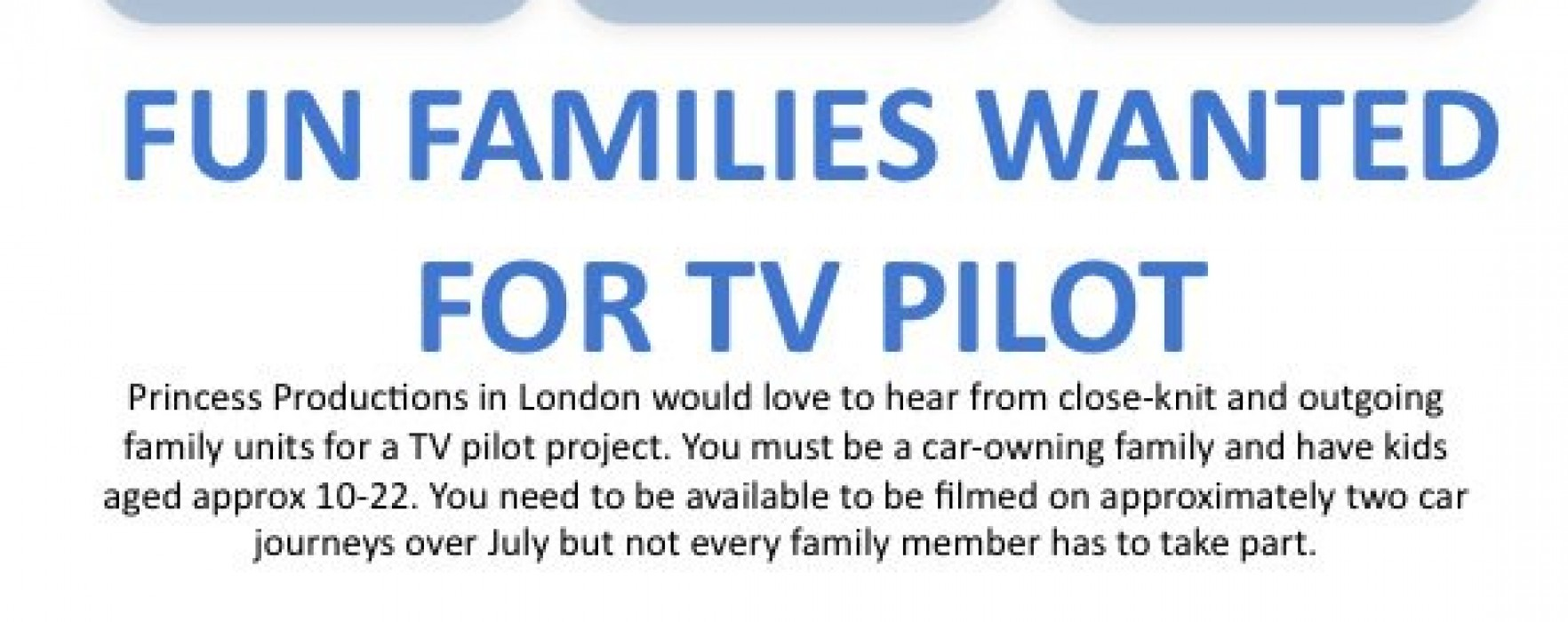 Are you always driving your teenage around? TV pilot is casting